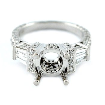 Baguette and Round Diamond Ring Mounting