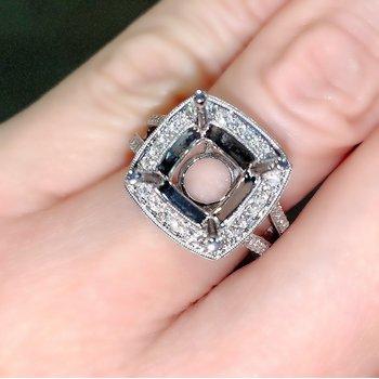 Cushion Halo Diamond Engagement Ring Mounting