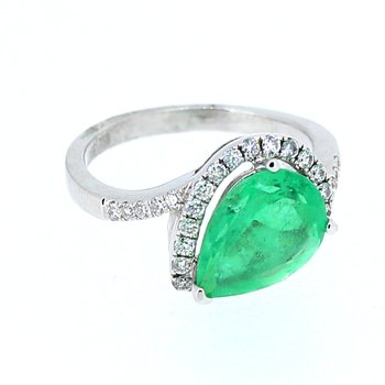 Emerald & Diamond Pear Halo Ring