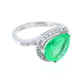 Emerald & Diamond Pear Halo Ring