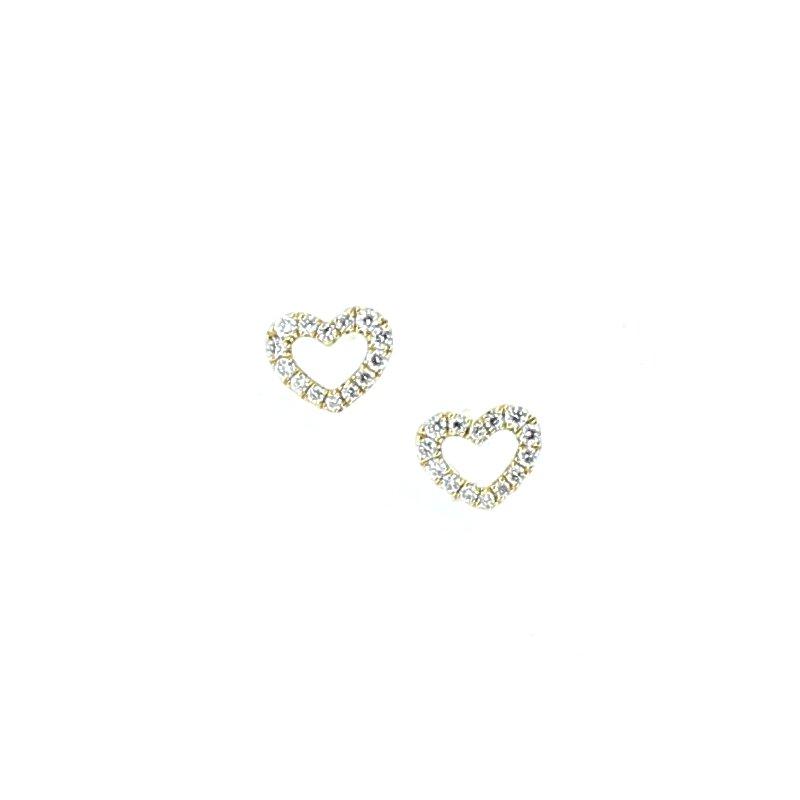 Decor Open Heart Diamond Stud Earrings