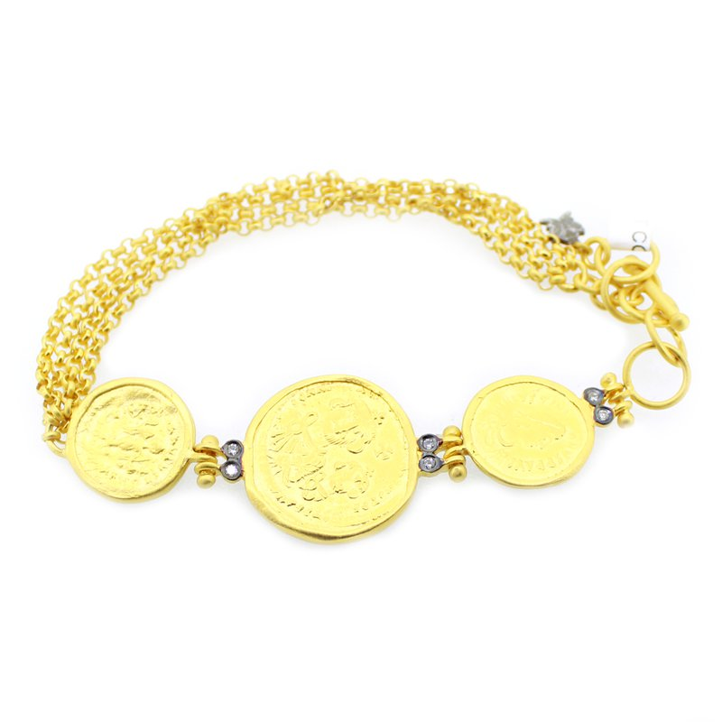 Kurtulan Ancient Coin Style Bracelet with Diamonds and Toggle Clasp