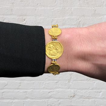 Ancient Coin Style Bracelet with Diamonds and Toggle Clasp