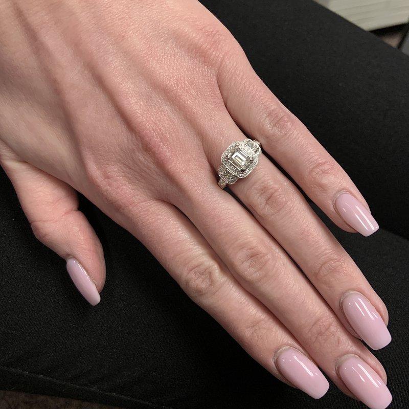 Decor Emerald Cut Three Stone Halo Diamond Ring