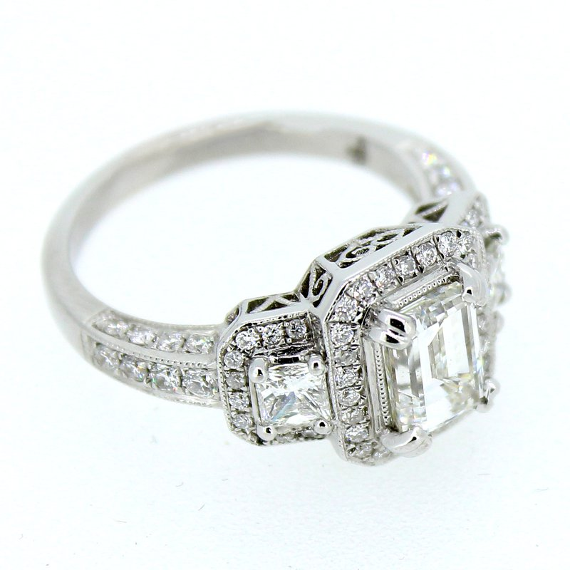 Decor Emerald Cut Three Stone Halo Diamond Ring