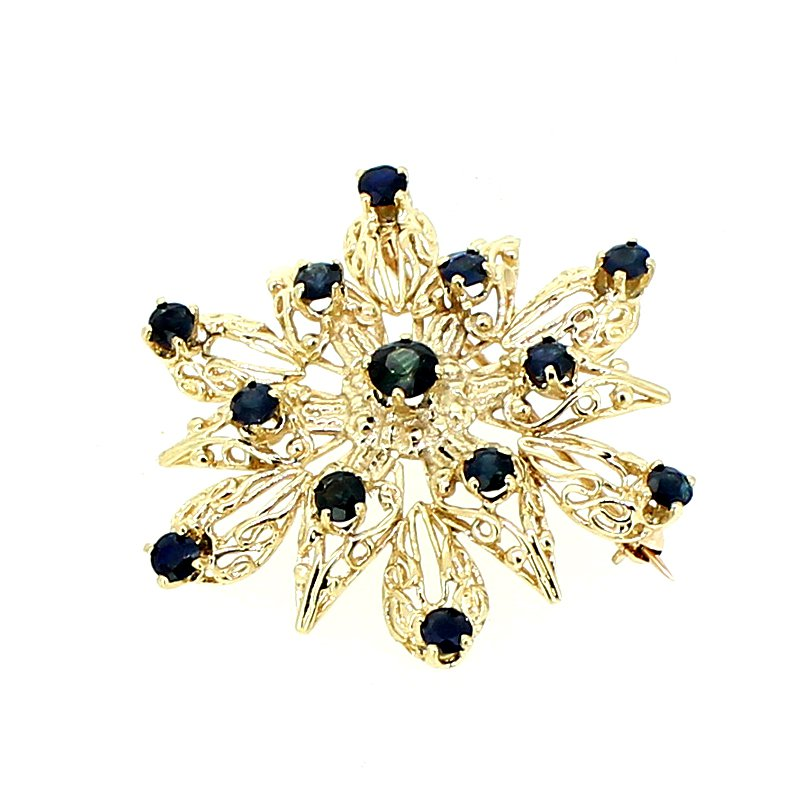 Decor Sapphire Snowflake Brooch or Pendant