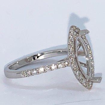 Marquise Halo Diamond Engagement Ring Mounting