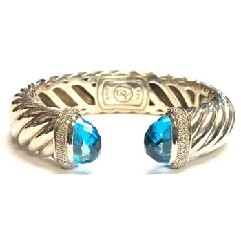 Large Cable and Topaz Hinged Cuff