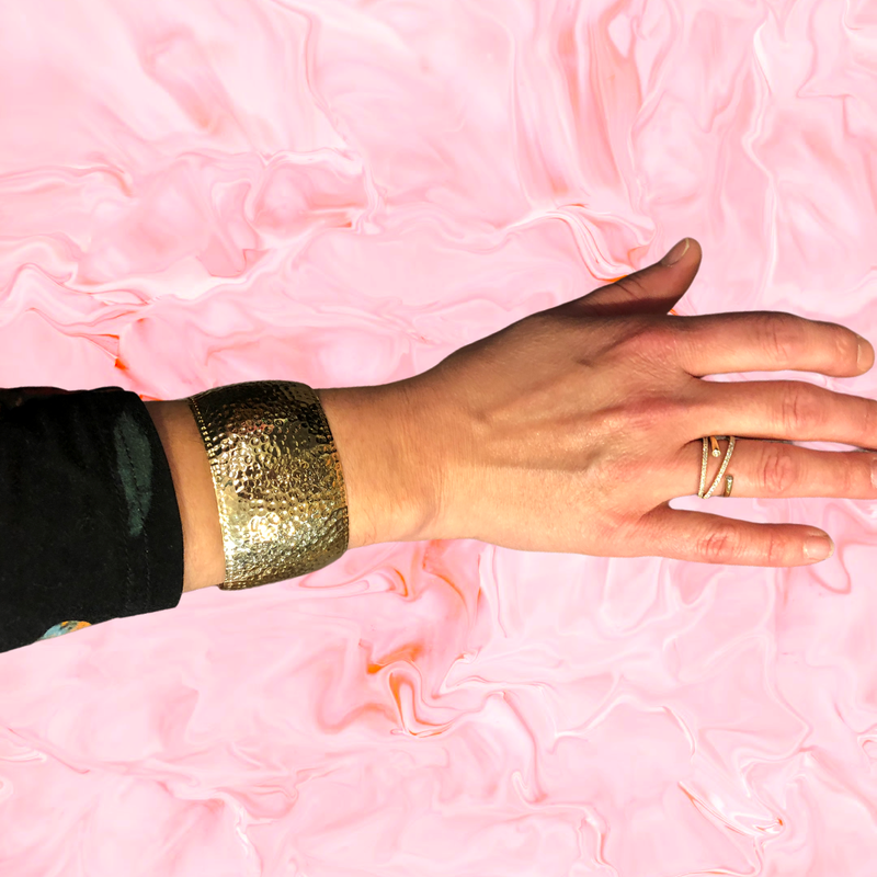 Decor Wide Gold Hammered Cuff Bracelet
