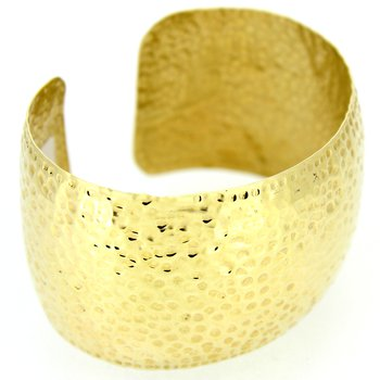 Wide Gold Hammered Cuff Bracelet