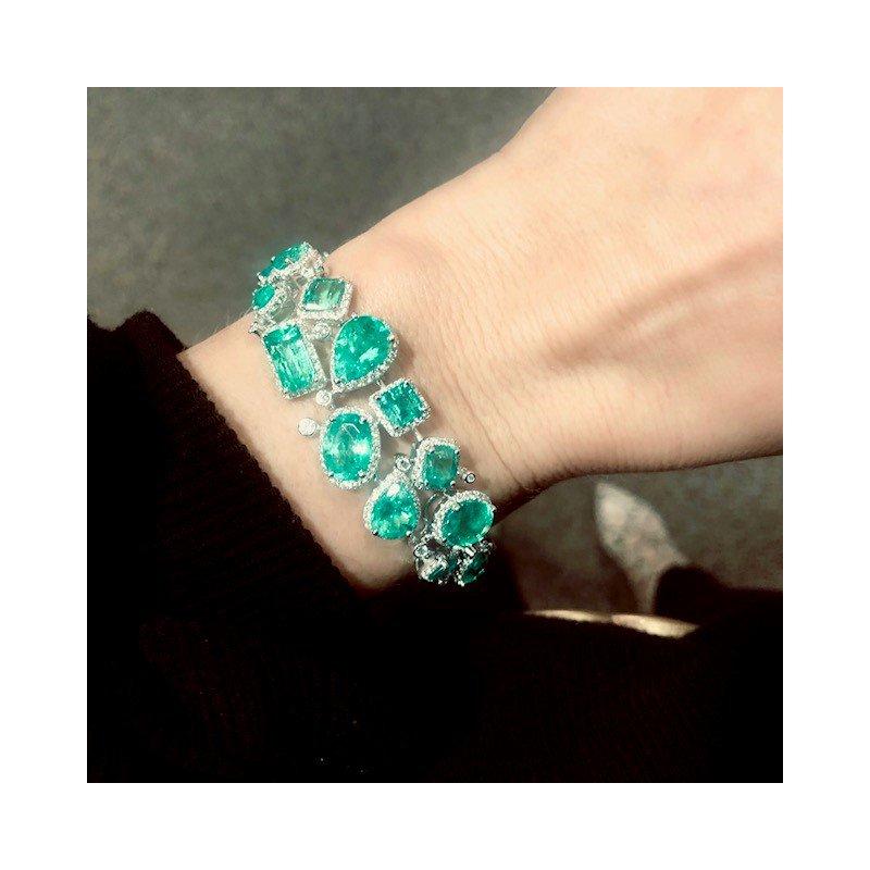 Decor Exquisite Emerald and Diamond Bracelet