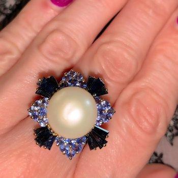 Pearl, Sapphire, & Tanzanite Ring