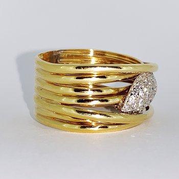 Multi Band Criss Cross Diamond Ring