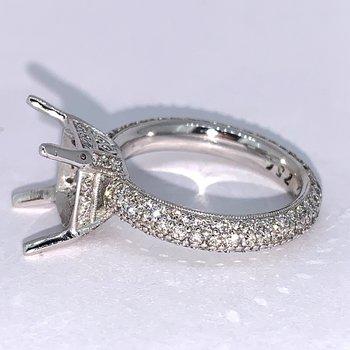 Pave Cushion Diamond Ring Mounting