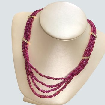 Ruby Bead & Diamond Necklace