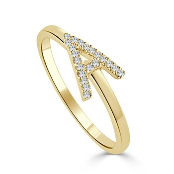 Diamond Initial 'A' Ring