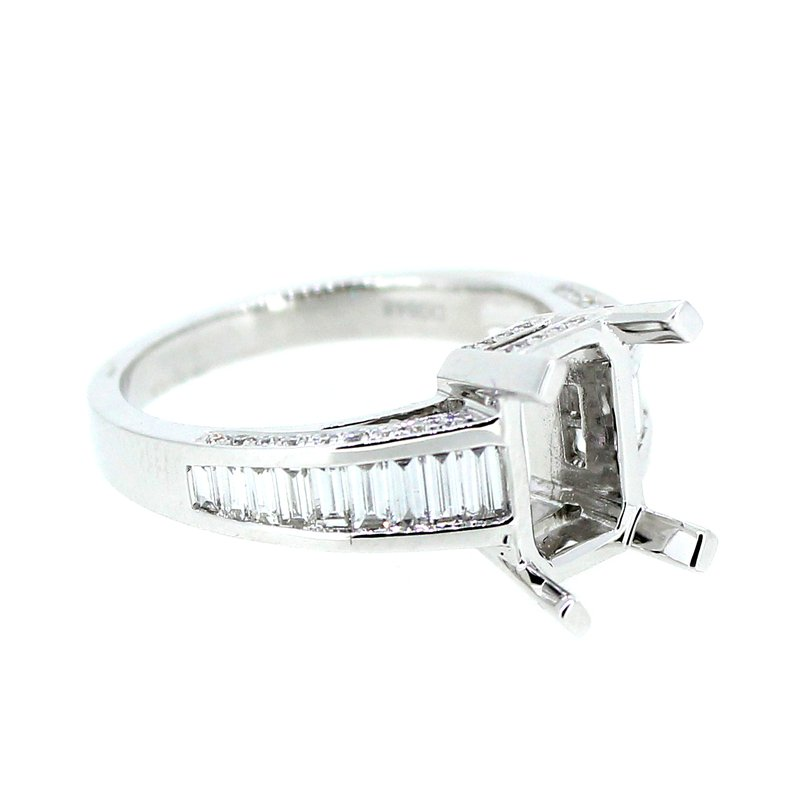 Decor Baguette & Pave Diamond Ring Mounting