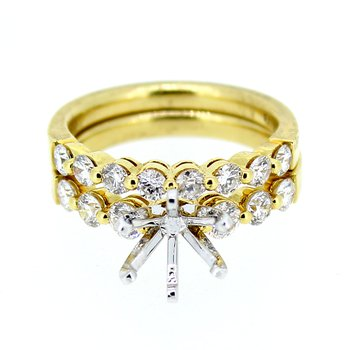 Yellow Gold Diamond Ring Mounting and Band Set