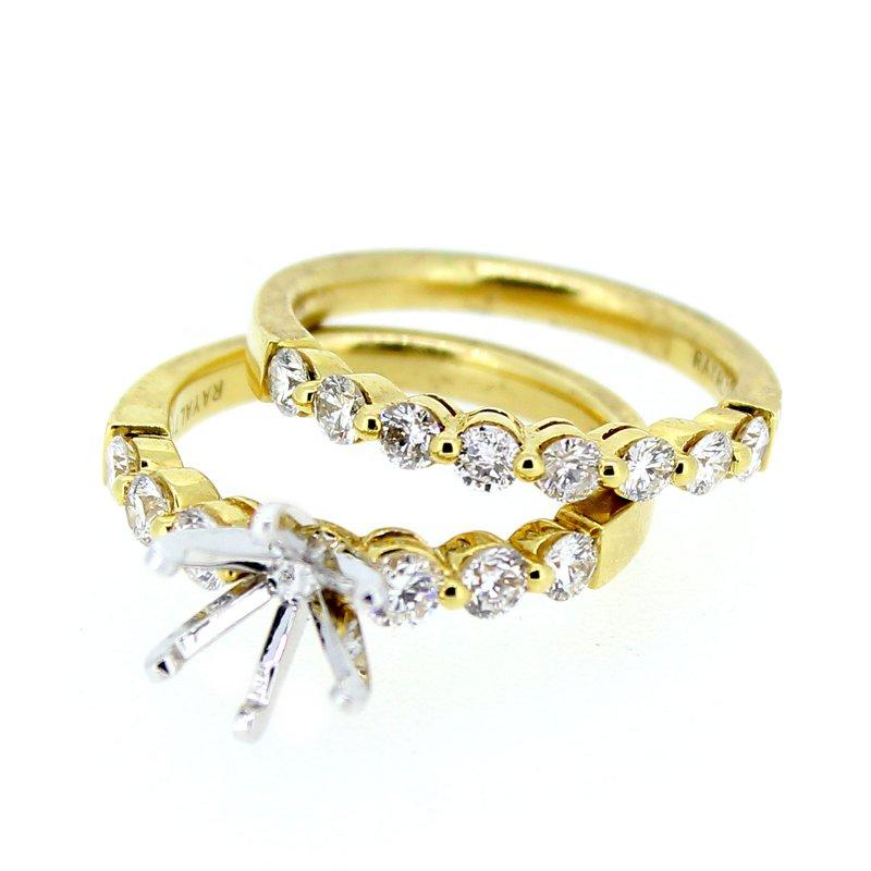 Decor Yellow Gold Diamond Ring Mounting and Band Set