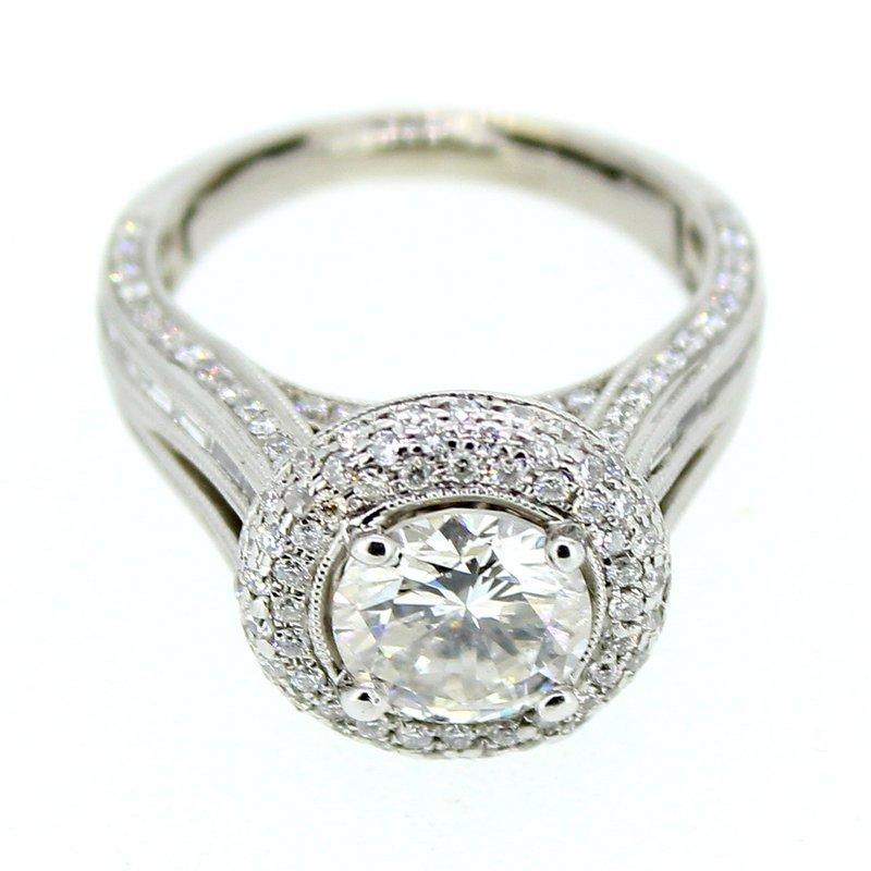Decor Round Halo Pave Engagement Ring