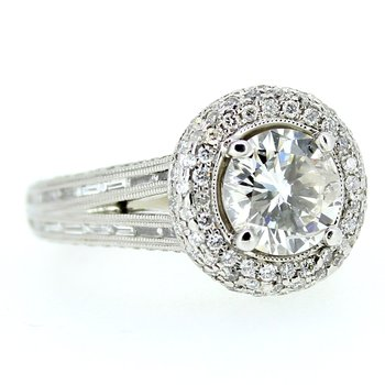 Round Halo Pave Engagement Ring