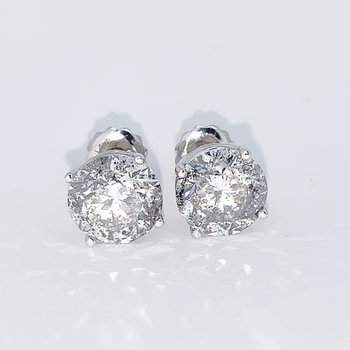 4.16ctw Diamond Stud Screwback Earrings