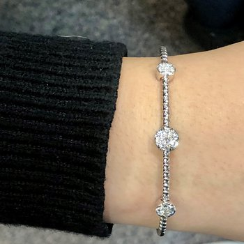Circles Pave Diamond Cuff Bracelet