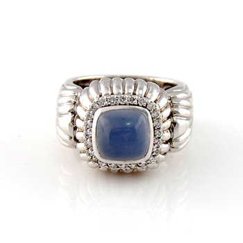 Chalcedony & Diamond Ring in White Gold
