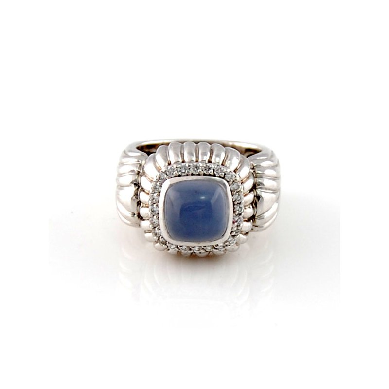 Decor Chalcedony & Diamond Ring in White Gold