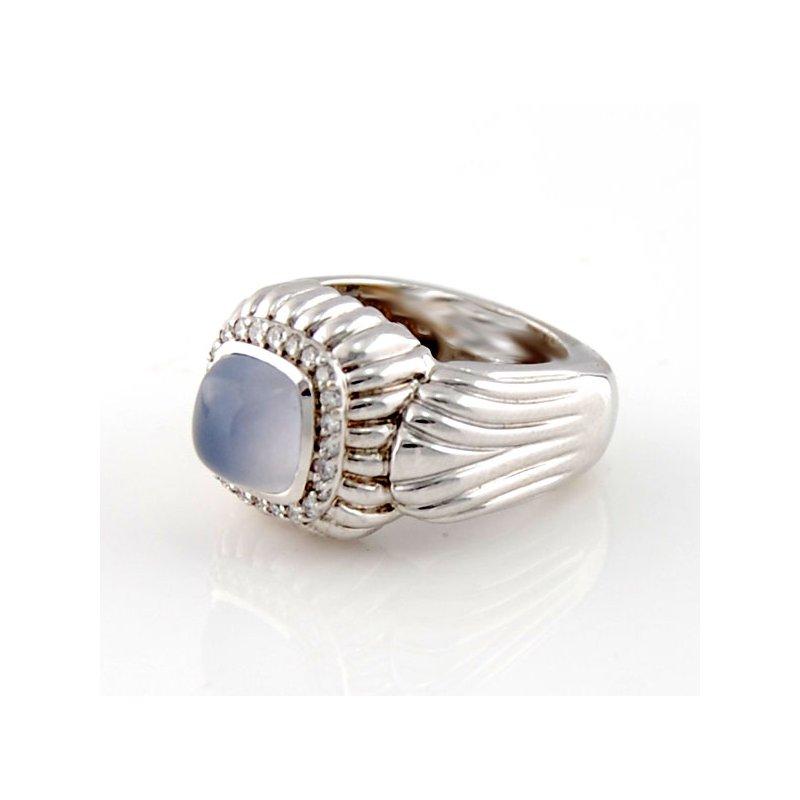 Decor Chalcedony & Diamond Ring in White Gold