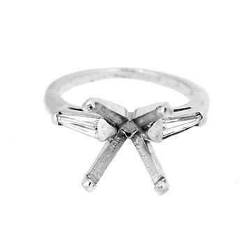 Estate Platinum Tapered Baguette Ring Mounting