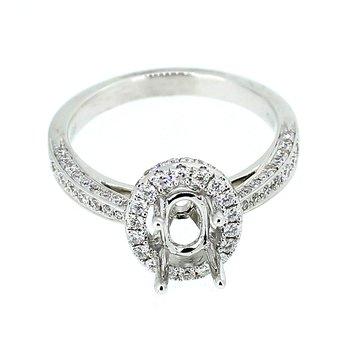 Oval Halo Diamond Ring Mounting