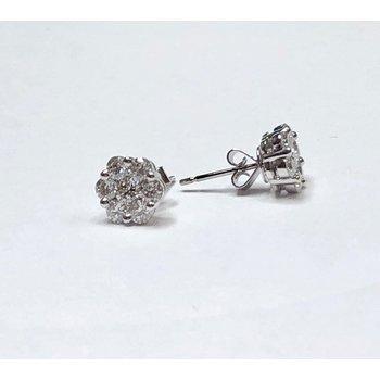 Diamond Floral Cluster Earrings