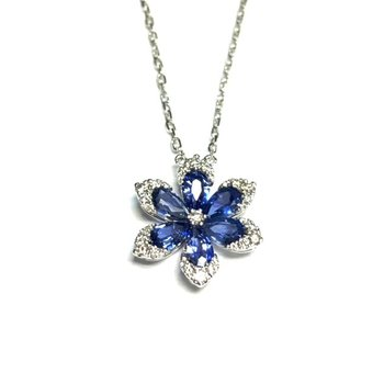 Sapphire and Diamond Flower Necklace