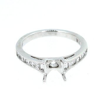 Baguette and Princess Cut Diamond Ring Mounting