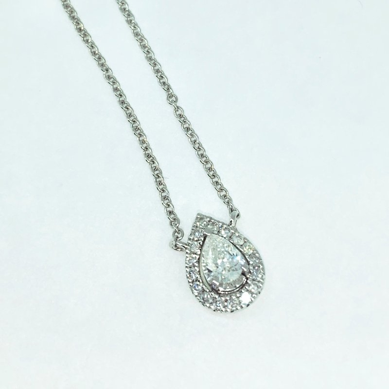 Decor Pear Halo Diamond Necklace