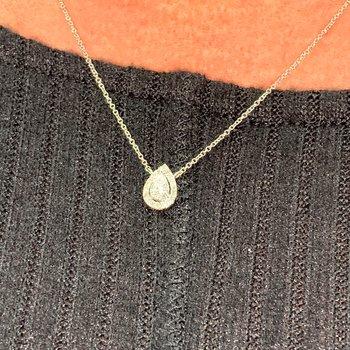 Pear Halo Diamond Necklace