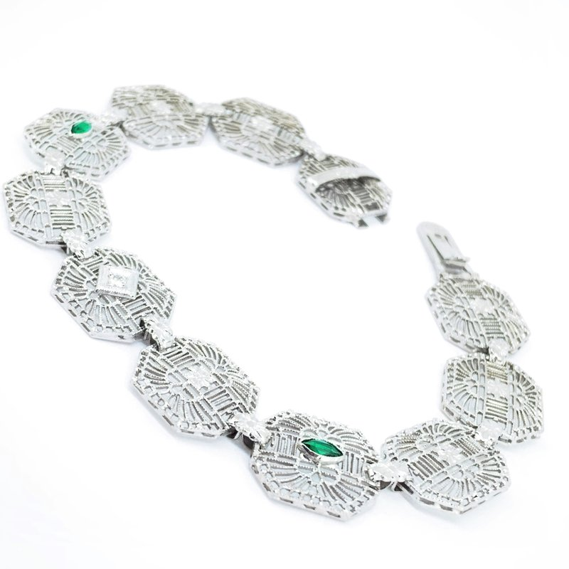 Decor Emerald & Diamond Filigree Link Bracelet