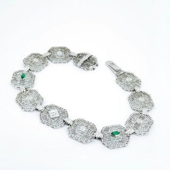 Emerald & Diamond Filigree Link Bracelet