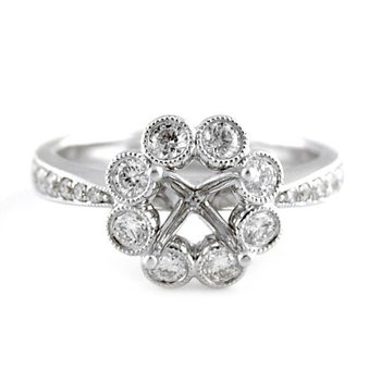 Bezel Set Halo Diamond Ring Mounting