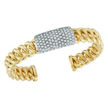 Pave Curb Link Cuff Bracelet
