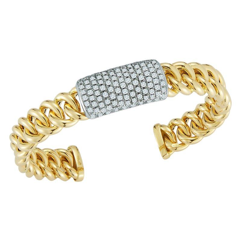 DA Gold Pave Curb Link Cuff Bracelet