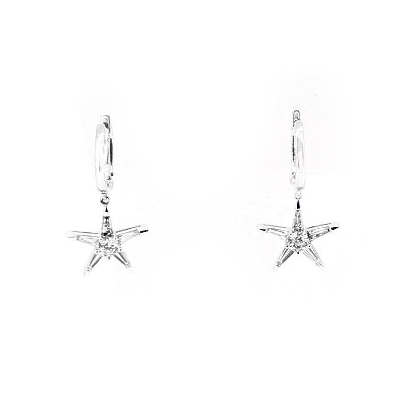 Decor Diamond Star Hoop Earrings