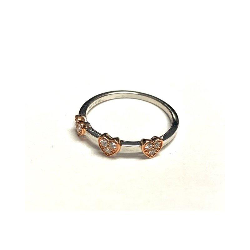 Decor 3 Heart Diamond 2 Tone Ring