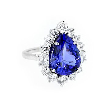 Tanzanite & Diamond Halo Gemstone Ring