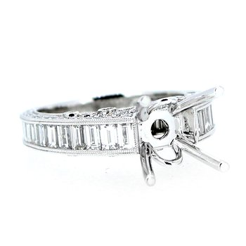 Pave & Channel Baguette Diamond Ring Mounting