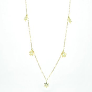 Star & Flower Diamond Drop Necklace