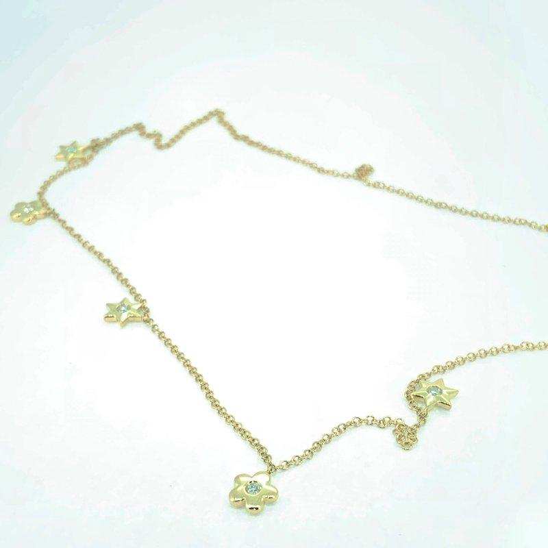 Decor Star & Flower Diamond Drop Necklace