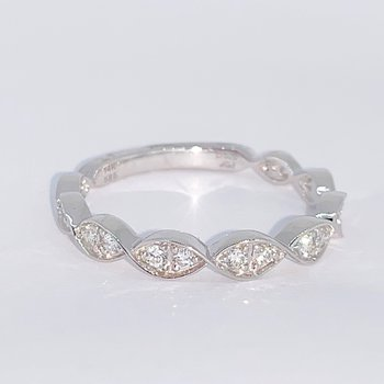 Scalloped Edge Diamond Wedding Band