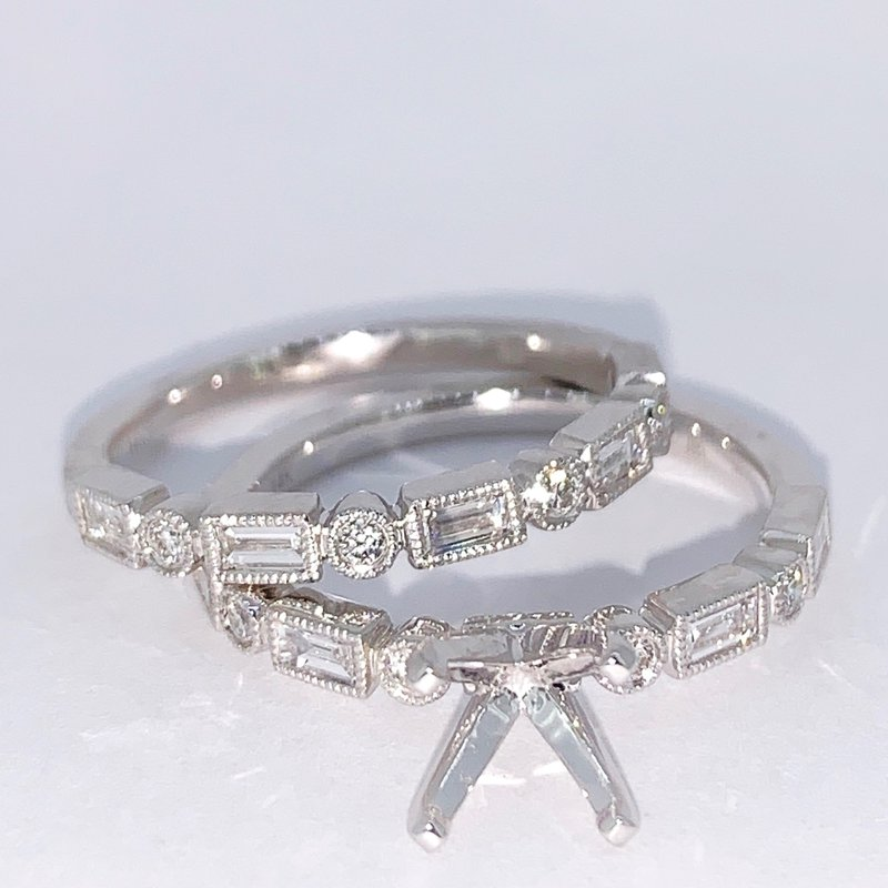 Baguette & Round Diamond Ring Mounting & Band